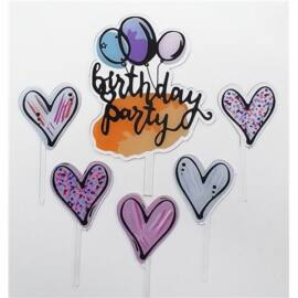"""Sziluett beszúró tortadísz - """"Birthday Party"""""""