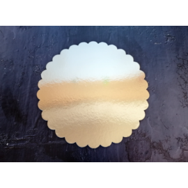 Arany színű hullámos szélű karton torta alátét 22 cm, 1 db